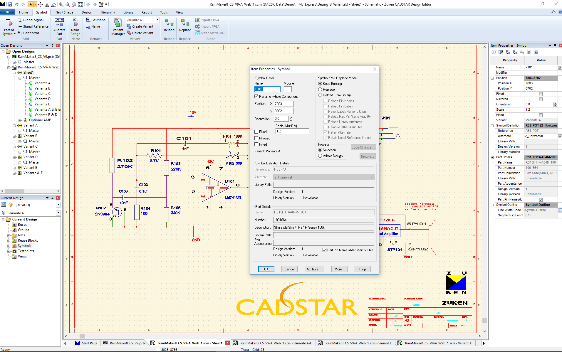 3D Promotion pcb design software cadstar professional schematics variants Bestueckungs Variante A SCM ohne bestueckte