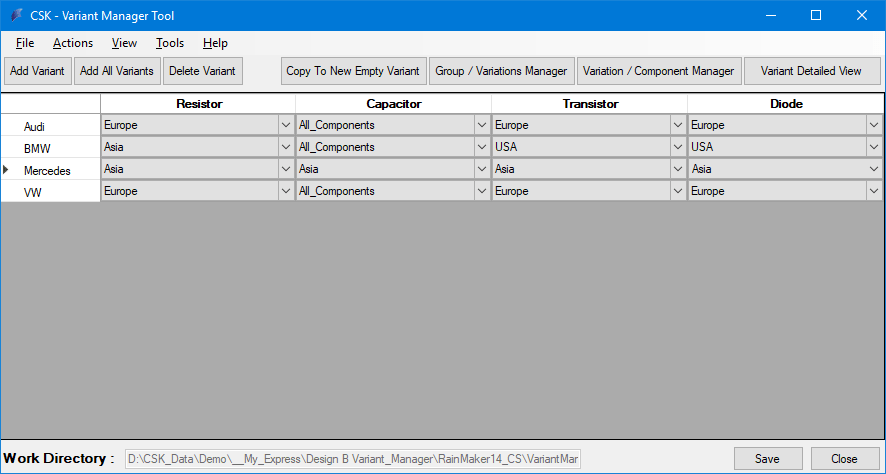 ecad  report  export  BOM  Extractor  Varianten  Manager  Main  View