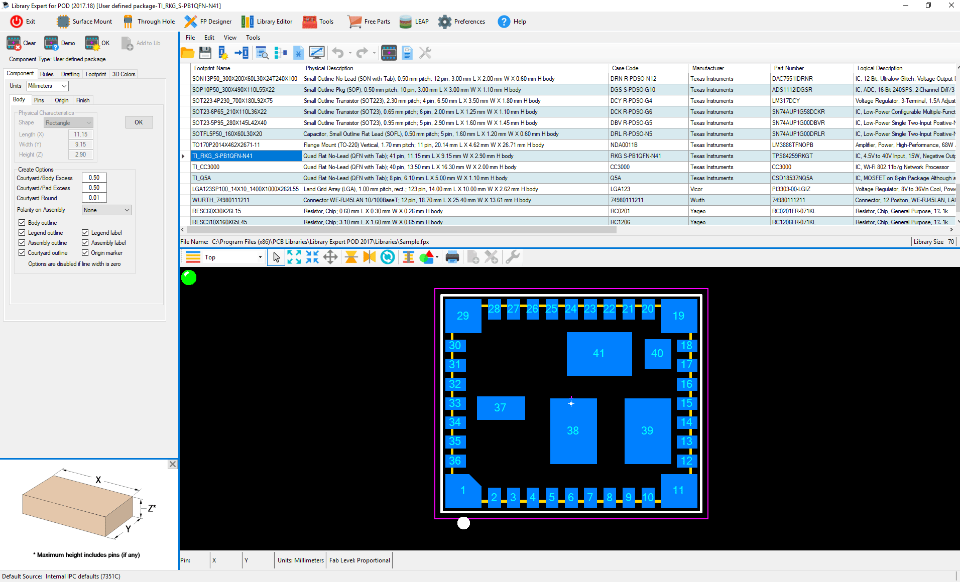 ipc standard pcb library expert POD Builder component body