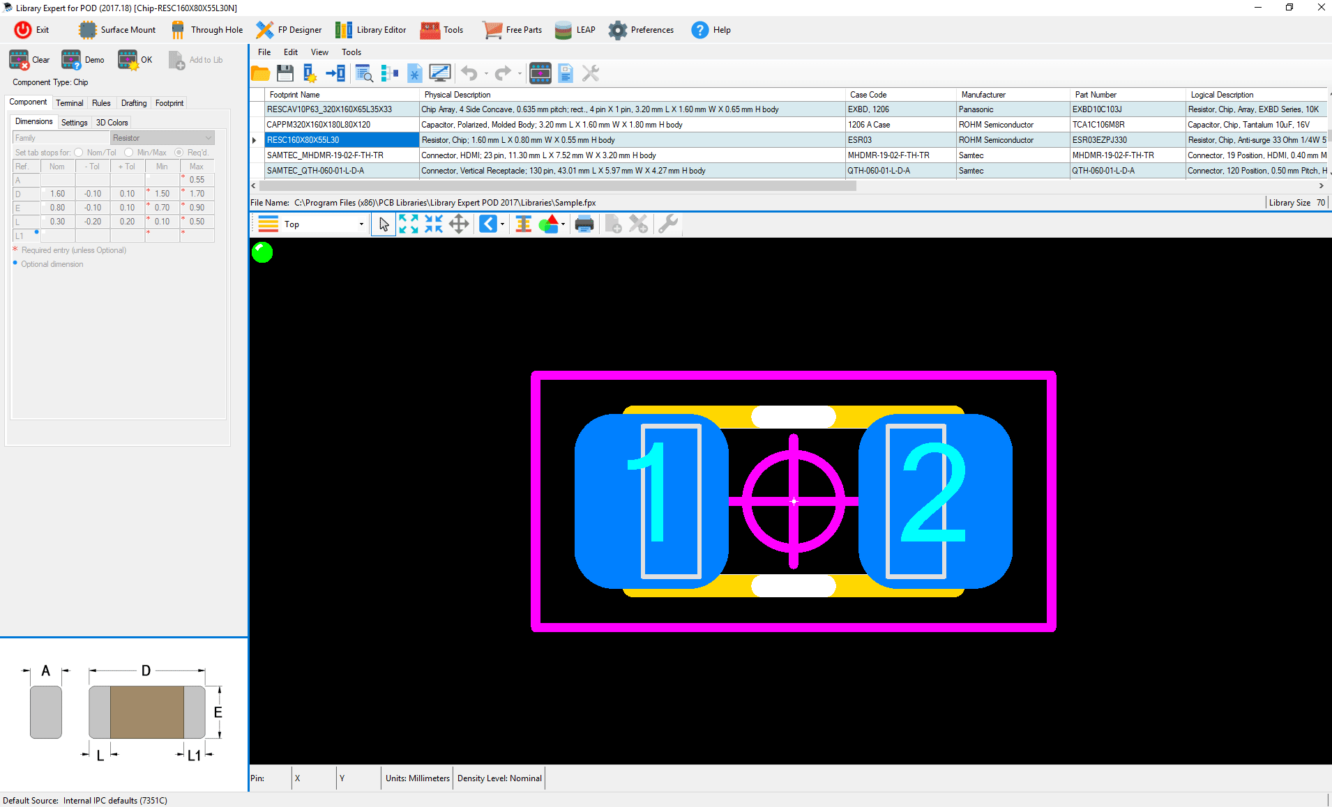 ipc standard pcb library expert POD Builder pod part example