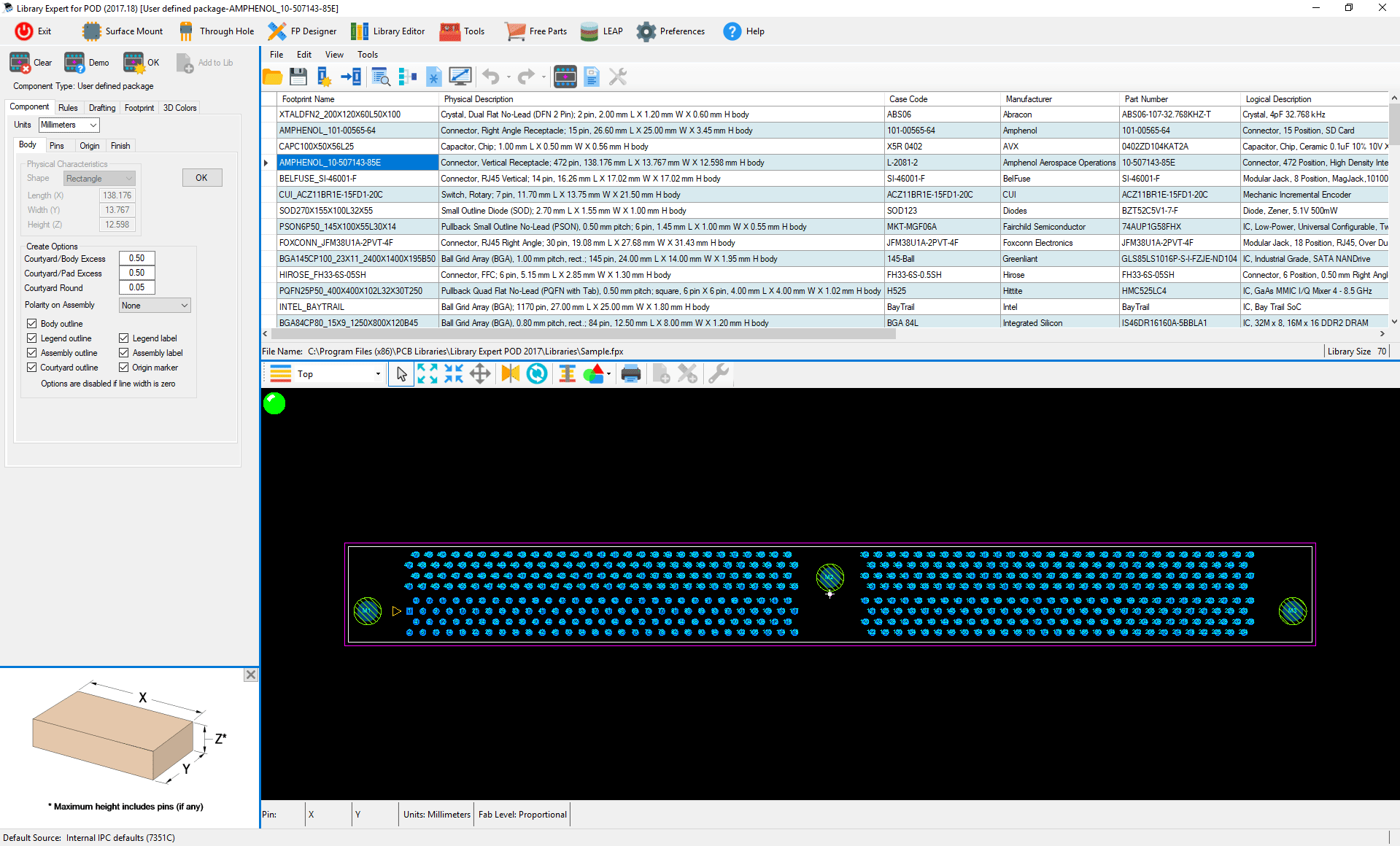 ipc standard pcb library expert POD Builder pod part example 3