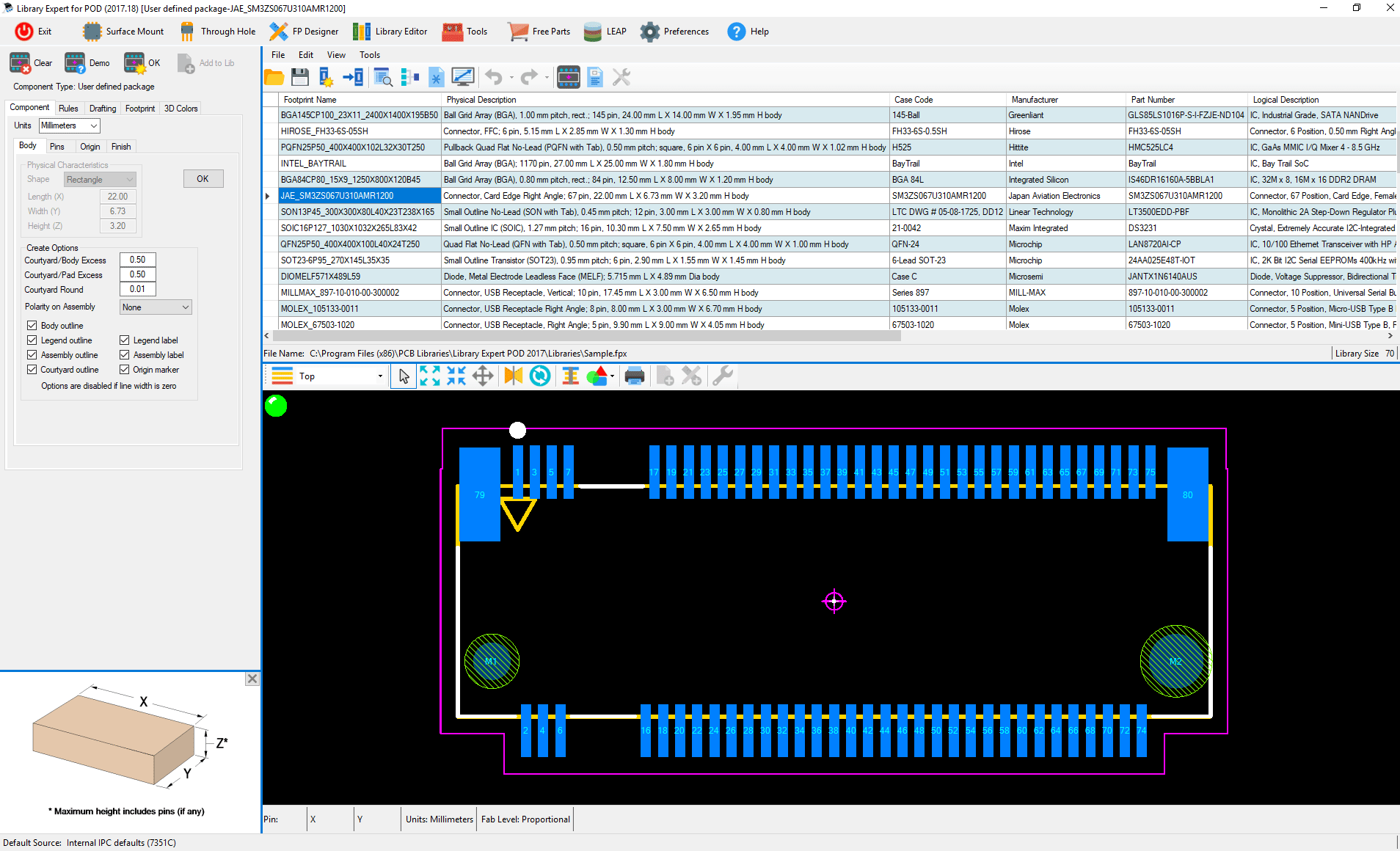 ipc standard pcb library expert POD Builder pod part example 4
