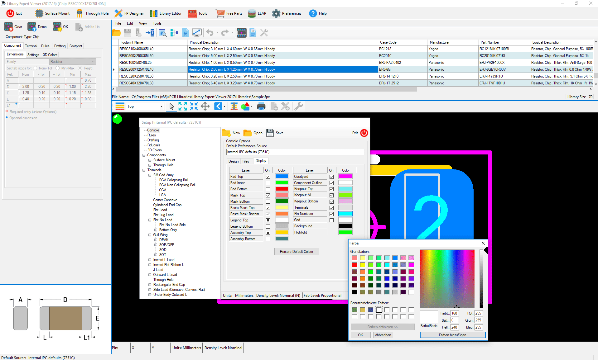 ipc  standard  pcb  library  expert  Viewer  preferences  display  colors