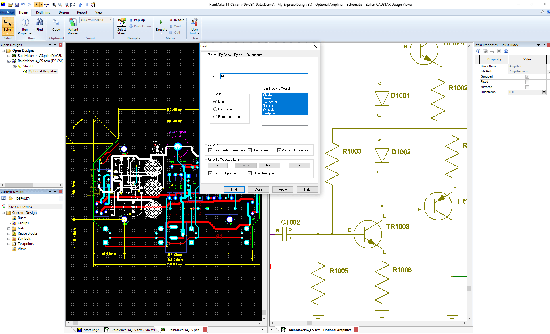 pcb design software CADSTAR Design Viewer Find and Search Testpoint