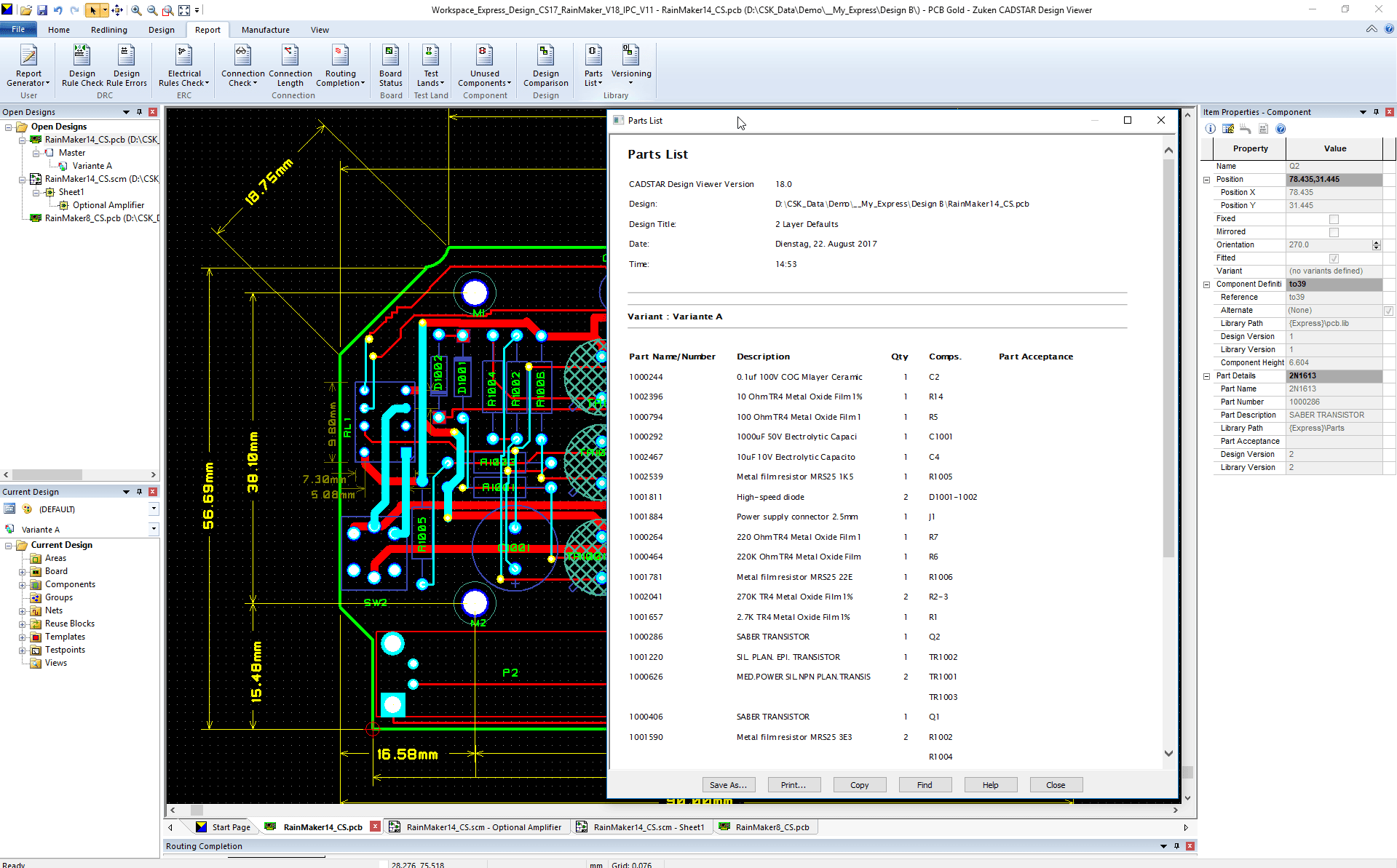 pcb design software CADSTAR Design Viewer Plus customer report