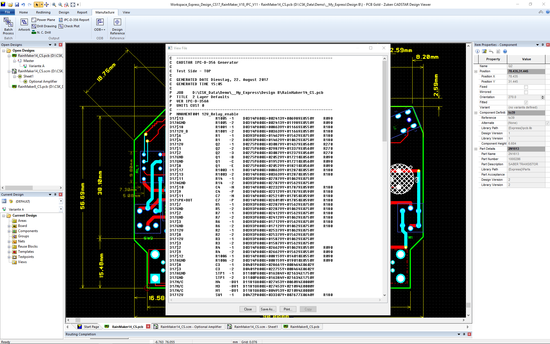 pcb design software CADSTAR Design Viewer Plus report IPC 356