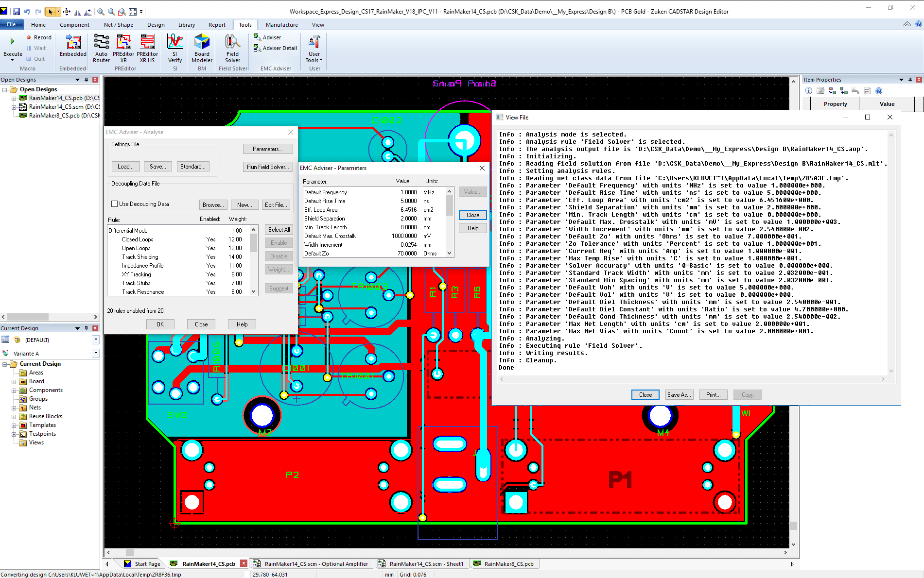 pcb design software CADSTAR EMC Adviser result analysis