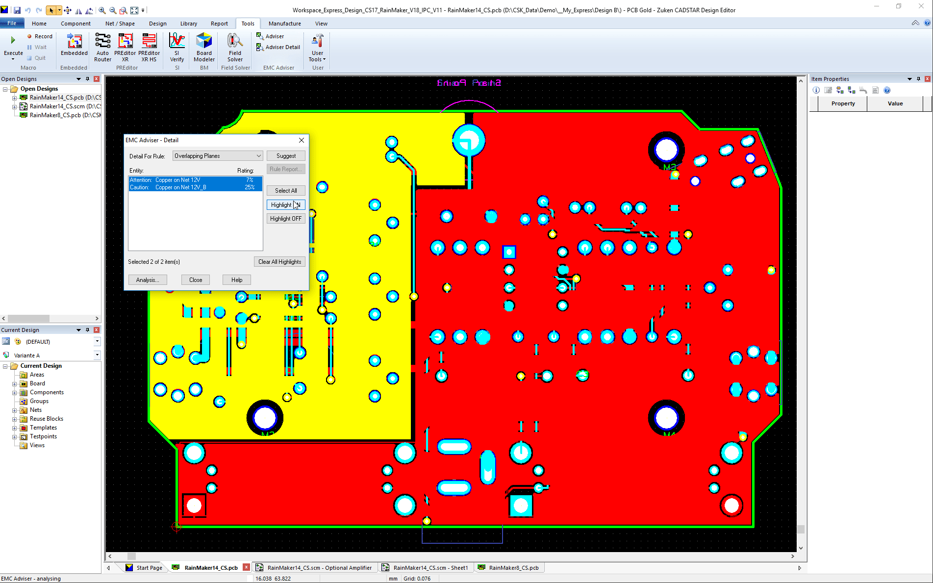pcb design software CADSTAR EMC Adviser result overlapping power planes