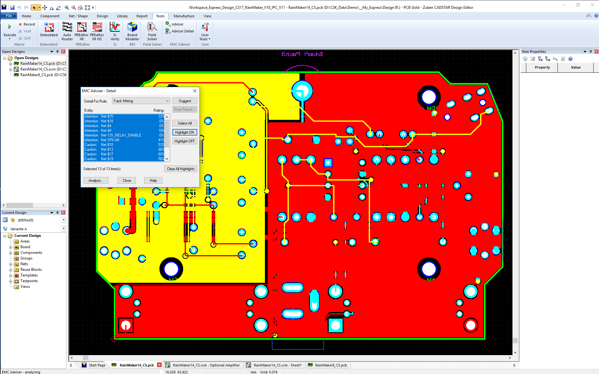 pcb design software CADSTAR EMC Adviser result track mitering