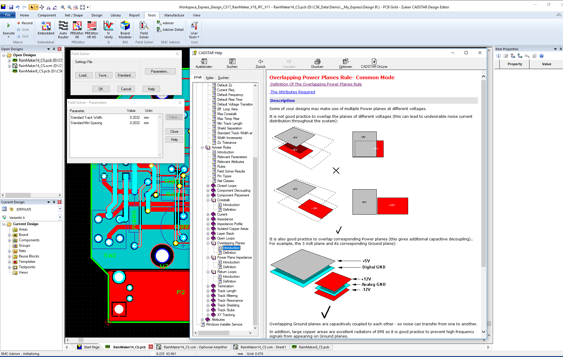 pcb design software CADSTAR EMC Adviser rule overlapping power planes