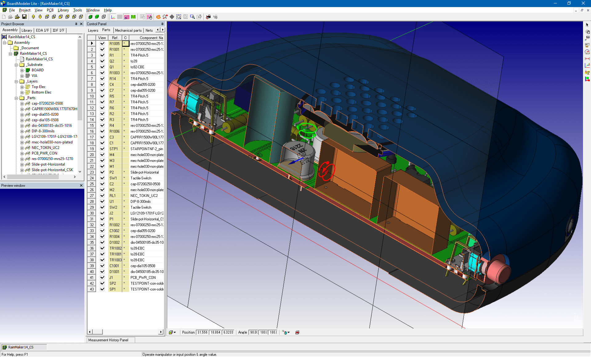 pcb design software cadstar board modeler lite cutting plane front v3