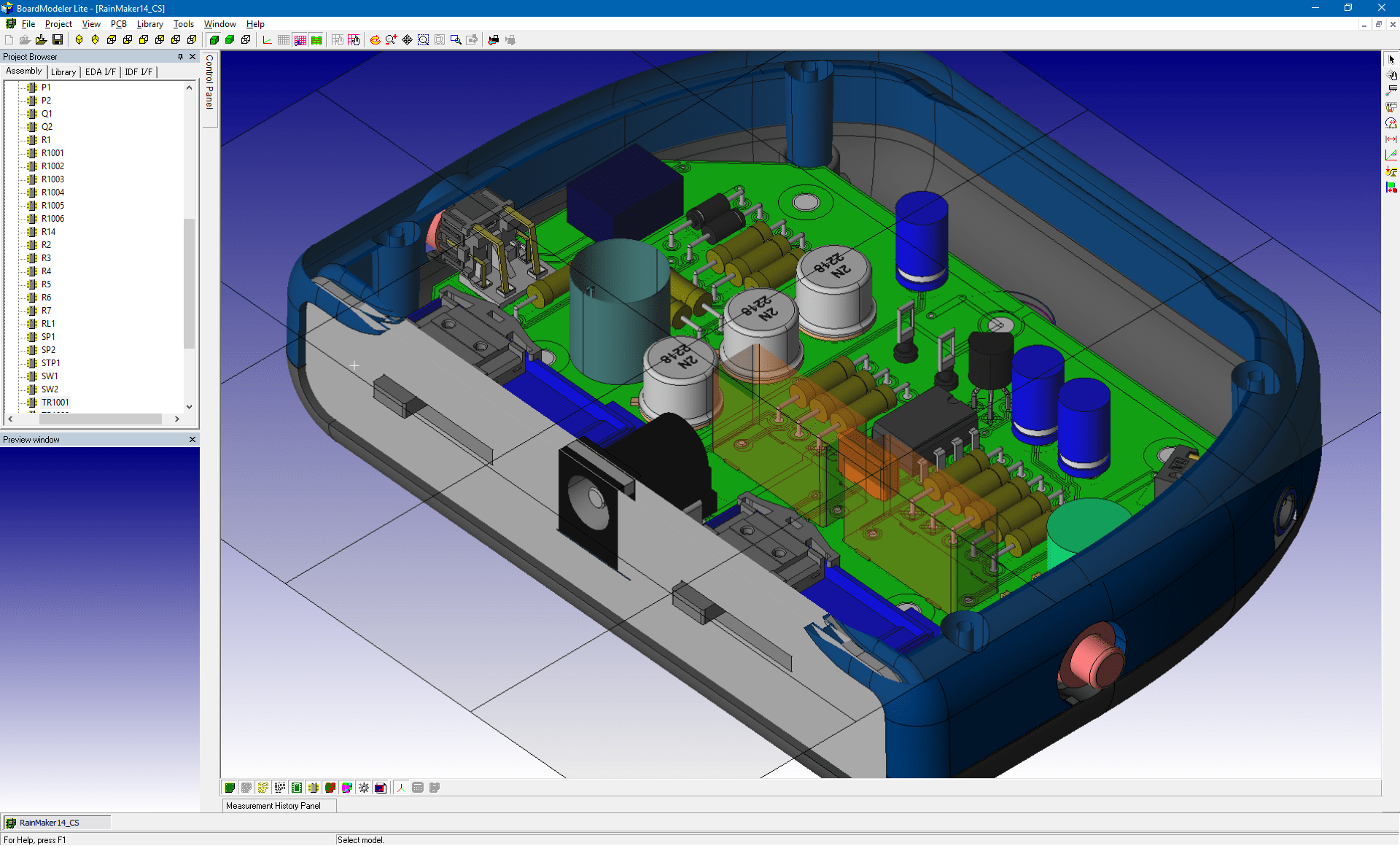 pcb design software cadstar board modeler lite cutting plane top v1