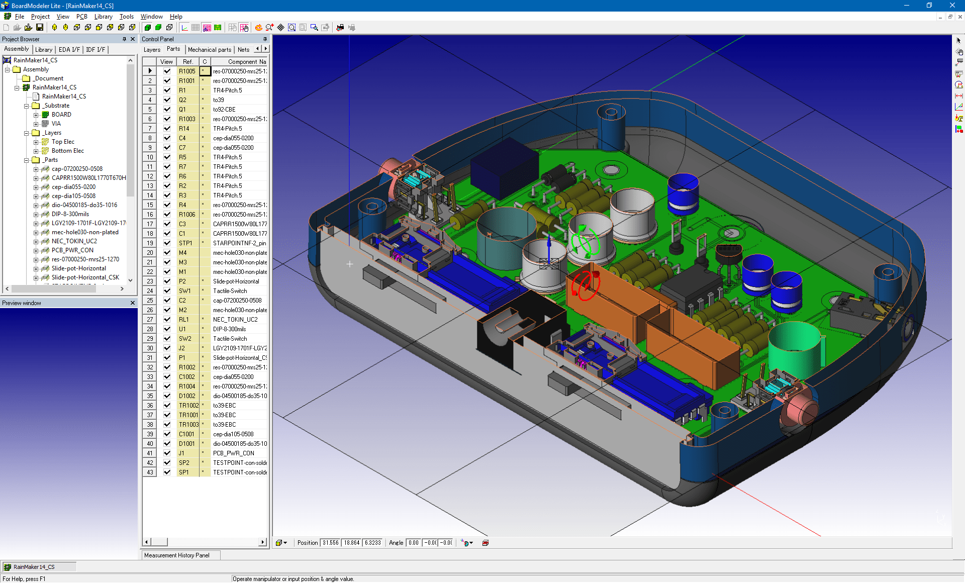 pcb design software cadstar board modeler lite cutting plane top v3