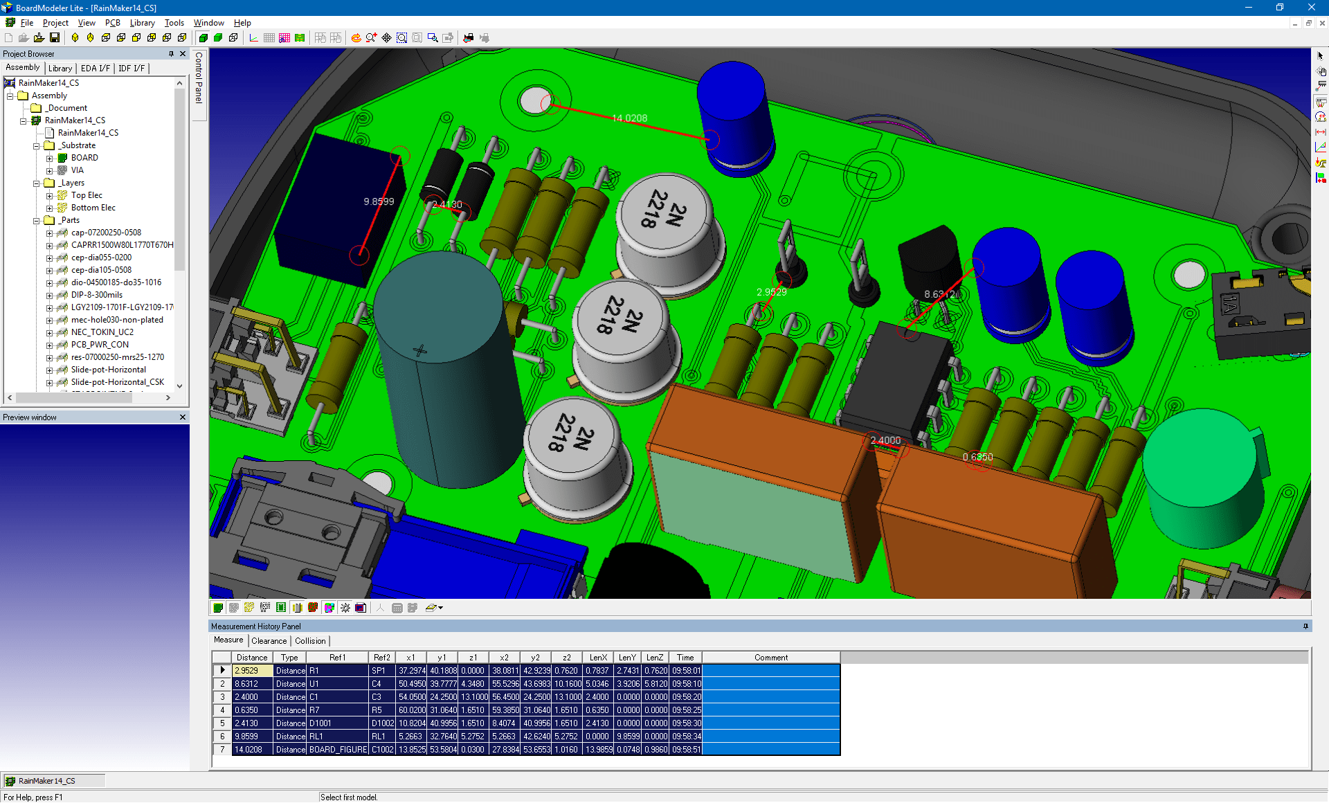 pcb design software cadstar board modeler lite distance measure