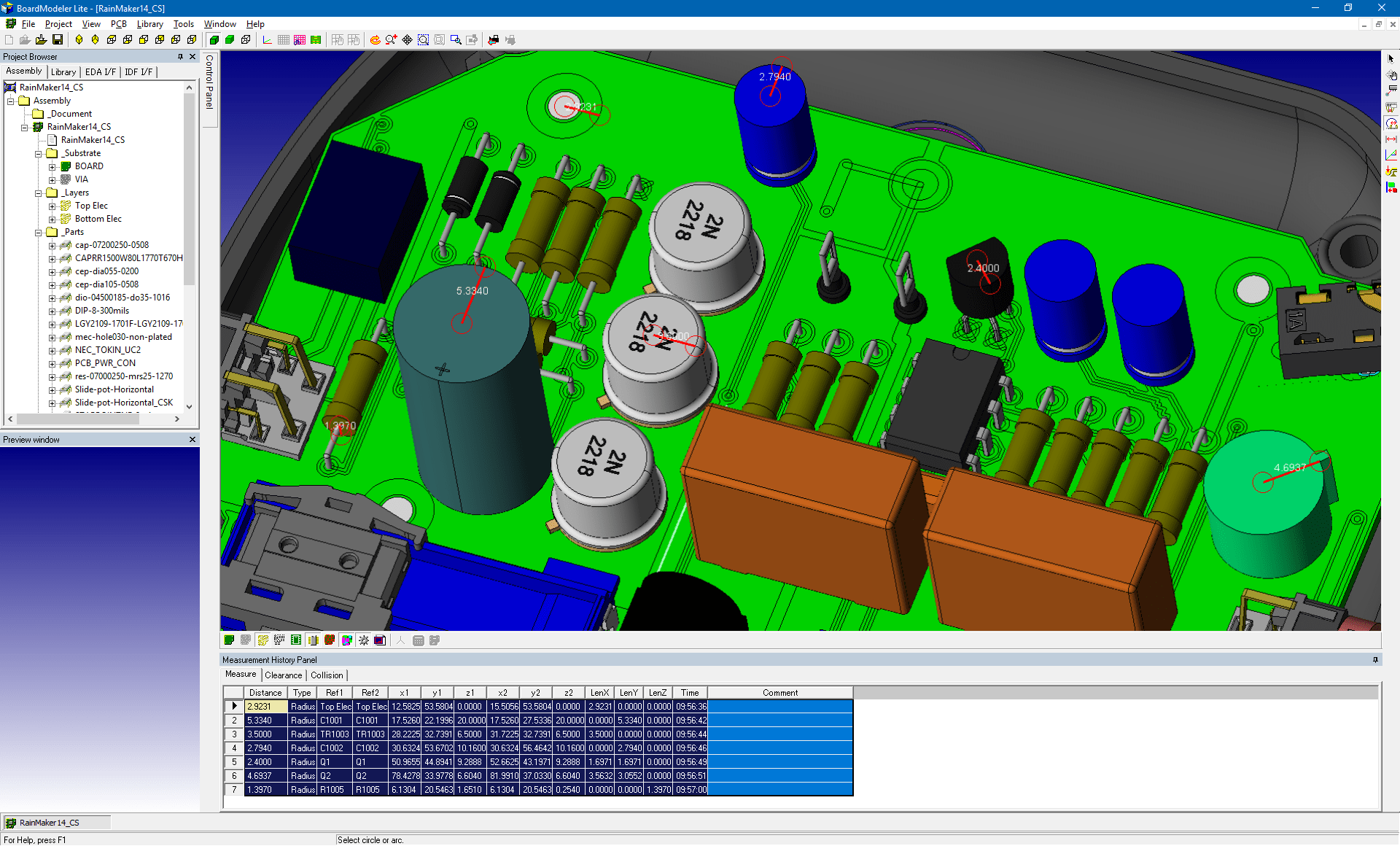pcb design software cadstar board modeler lite radius measure
