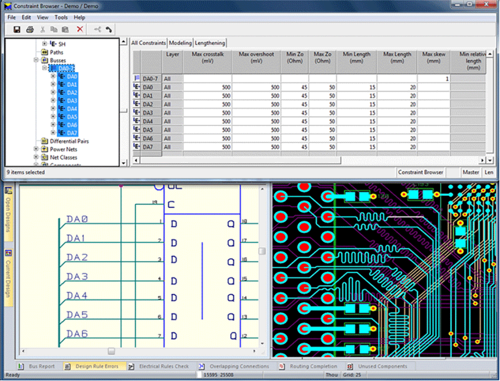 pcb design software cadstar constraint browser concurrent input and verification of high speed constraints