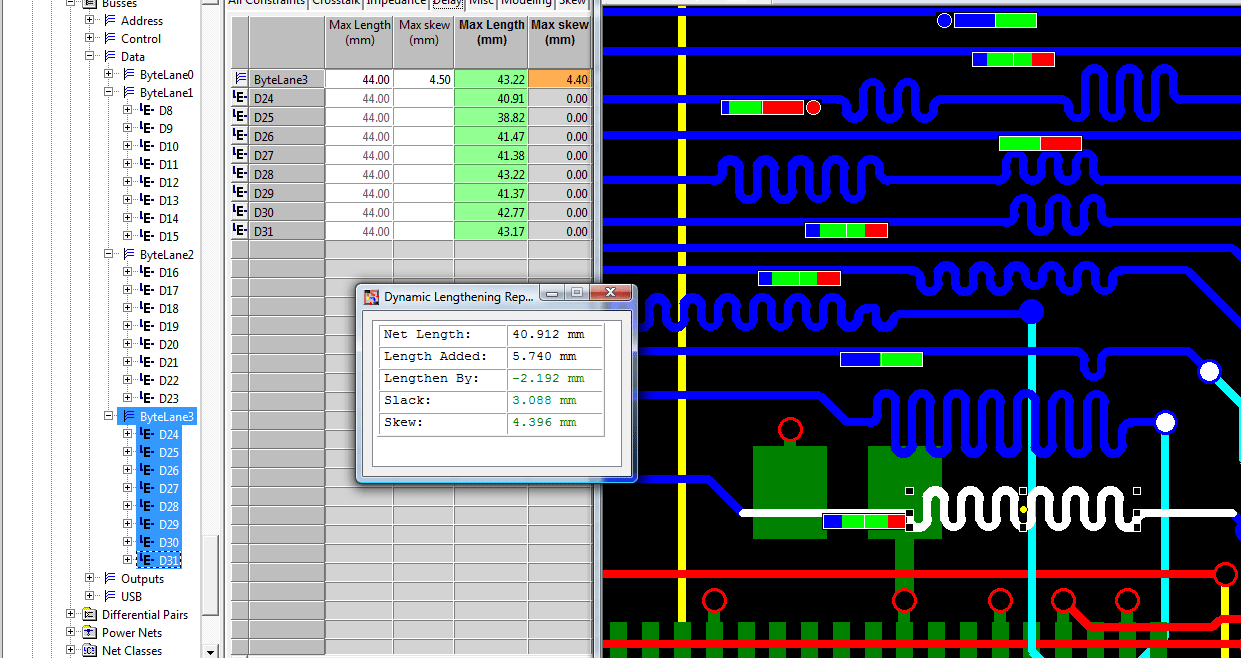 pcb design software cadstar place and route editor highspeed dynamic tuning of constrained signals