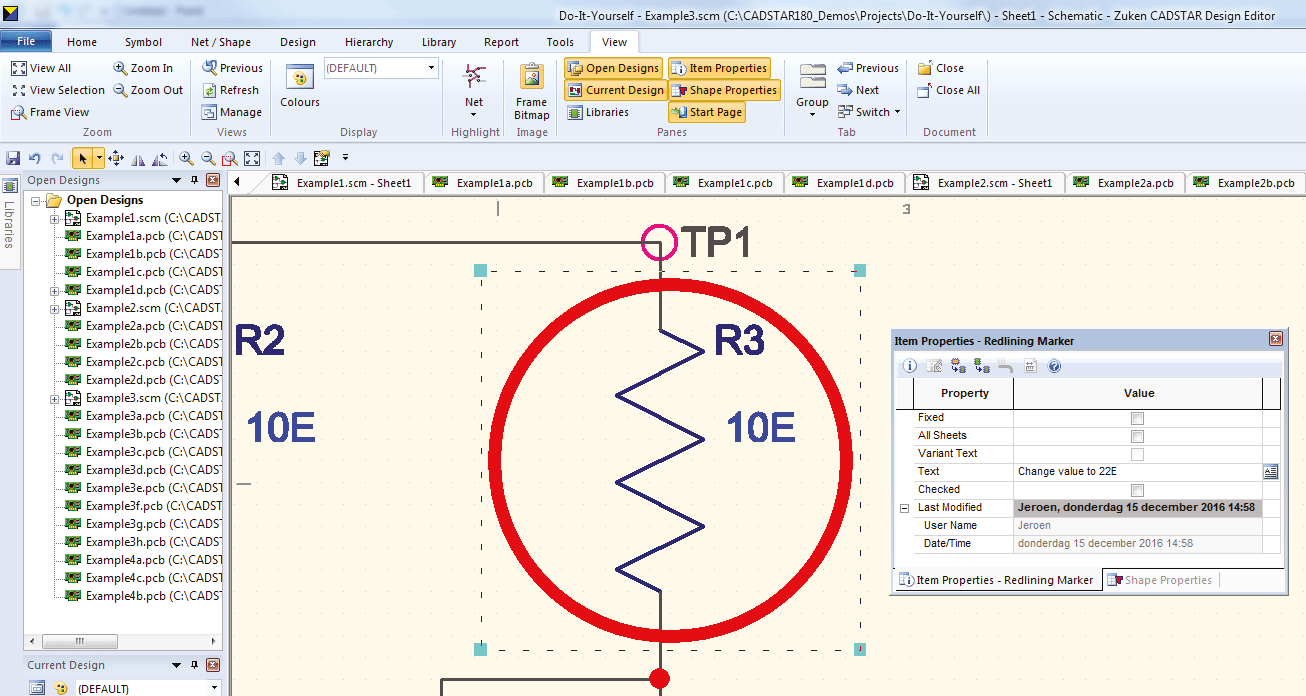 pcb design software cadstar redlining markup showing comments in the item properties workspace window