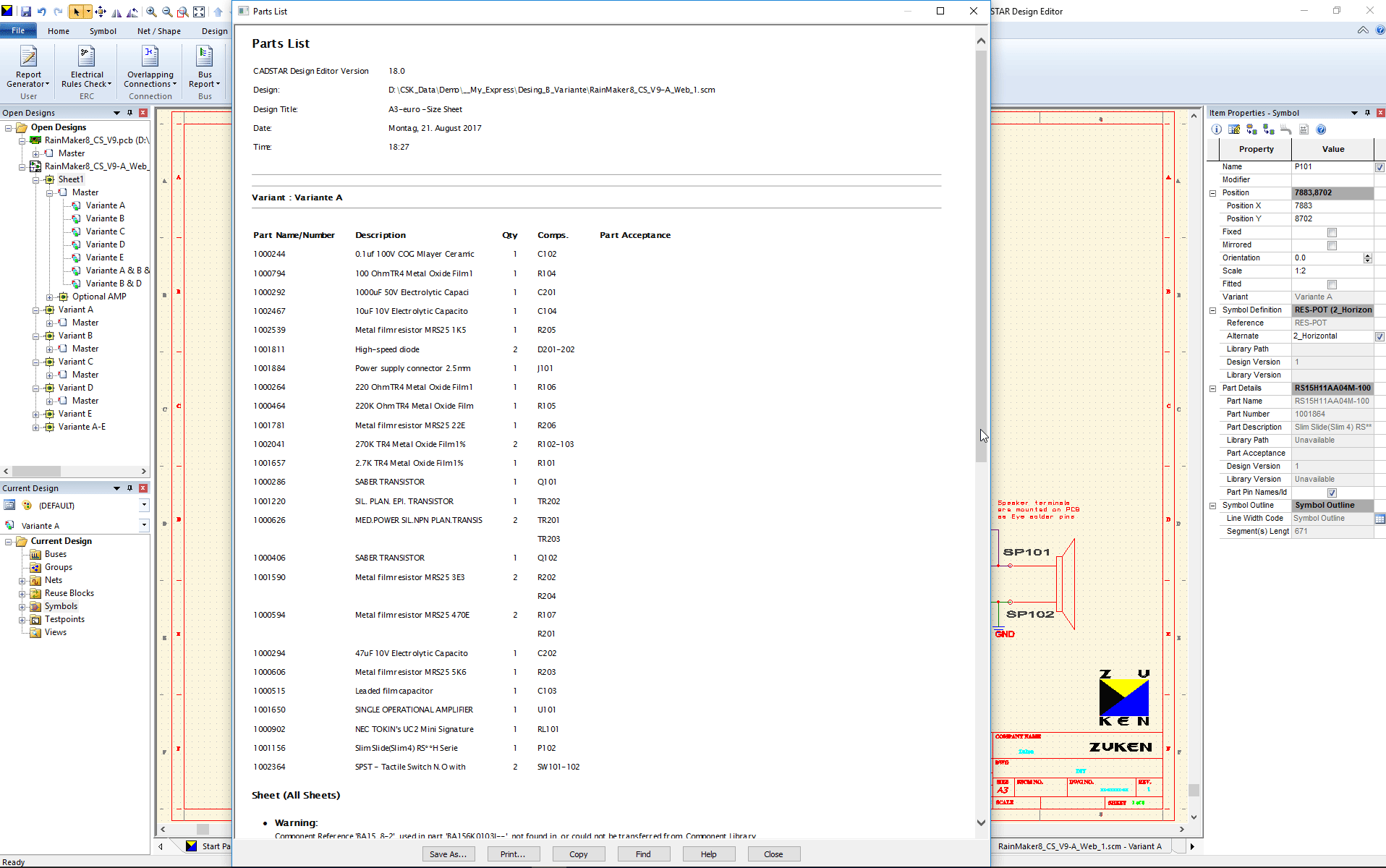 pcb design software cadstar schematics variants Bestueckungs Variante A BOM ohne non fitted