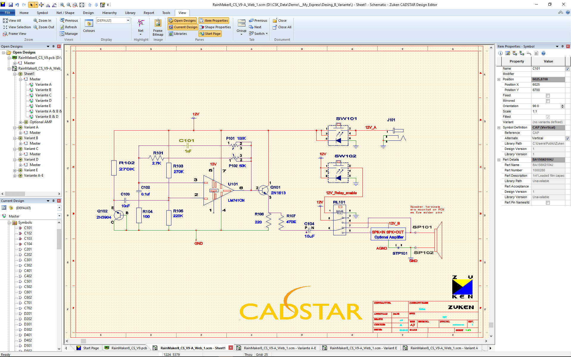 pcb design software cadstar schematics variants Master SCM view