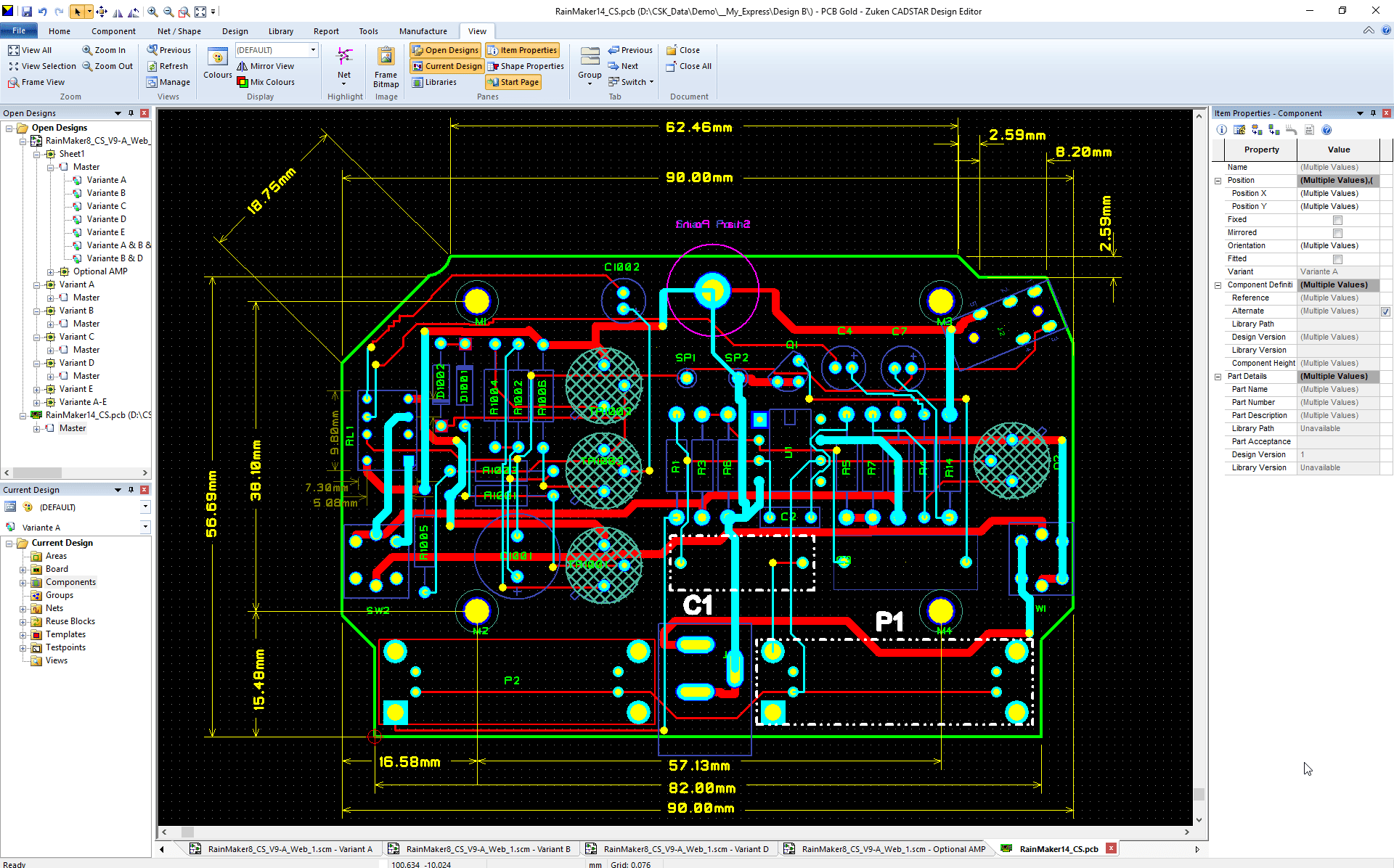 pcb design software cadstar variant manager Bestueckungs Variante A PCB ohne non fitted