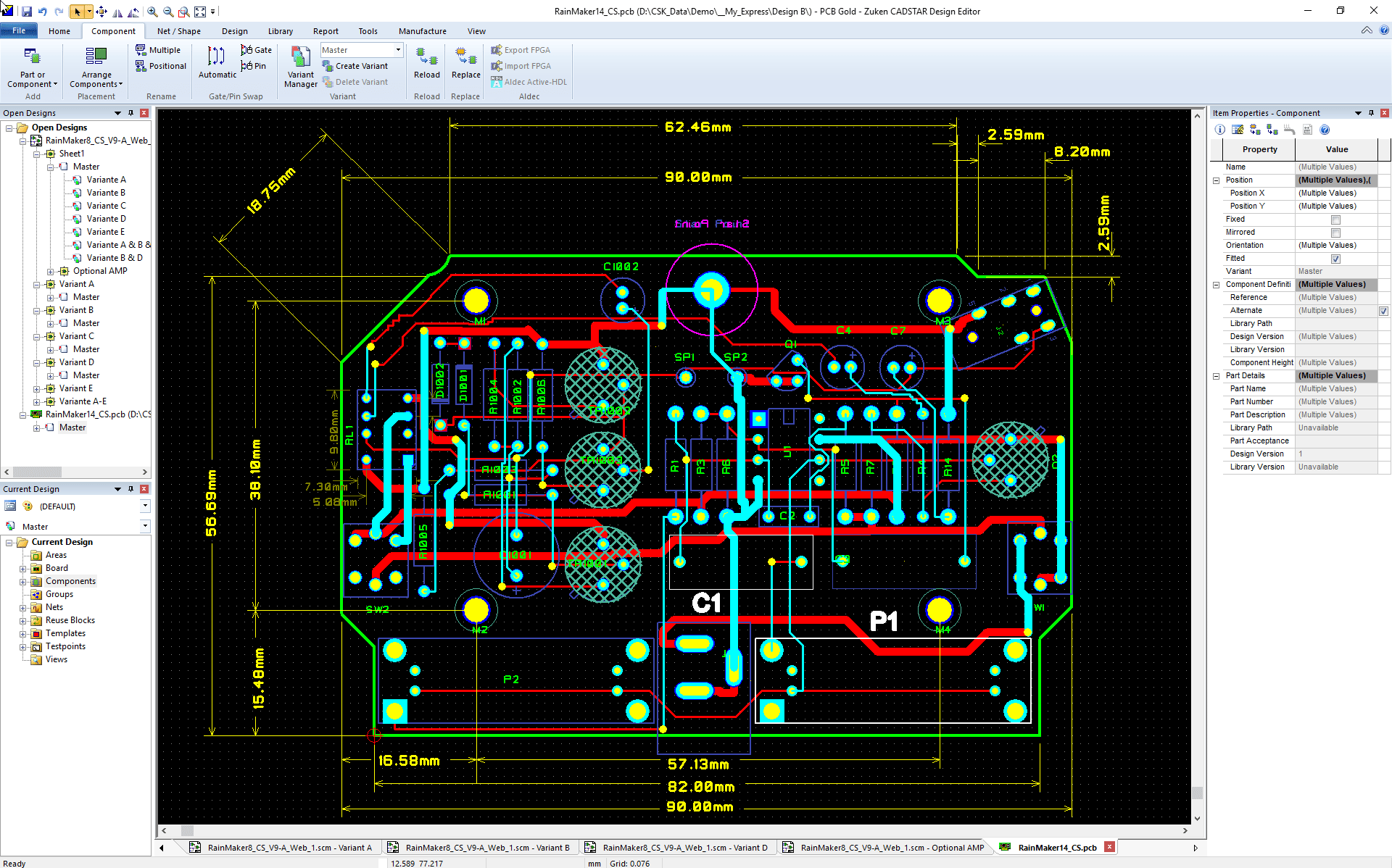 pcb design software cadstar variant manager Bestueckungs Variante Master PCB view